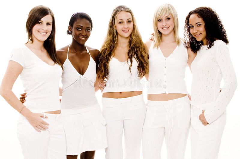 Women In White. Five attractive women of mixed race in white on white