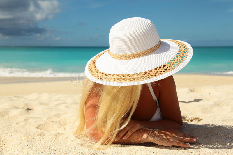Women with white hat stock image