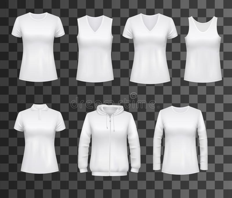 Women white tank top t-shirts, sportswear mockups vector illustration