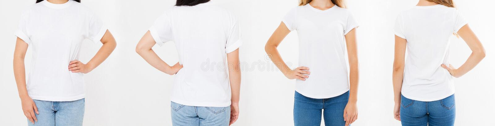 Women white tshirt isolated on white background, two girl t shirt.  stock photos