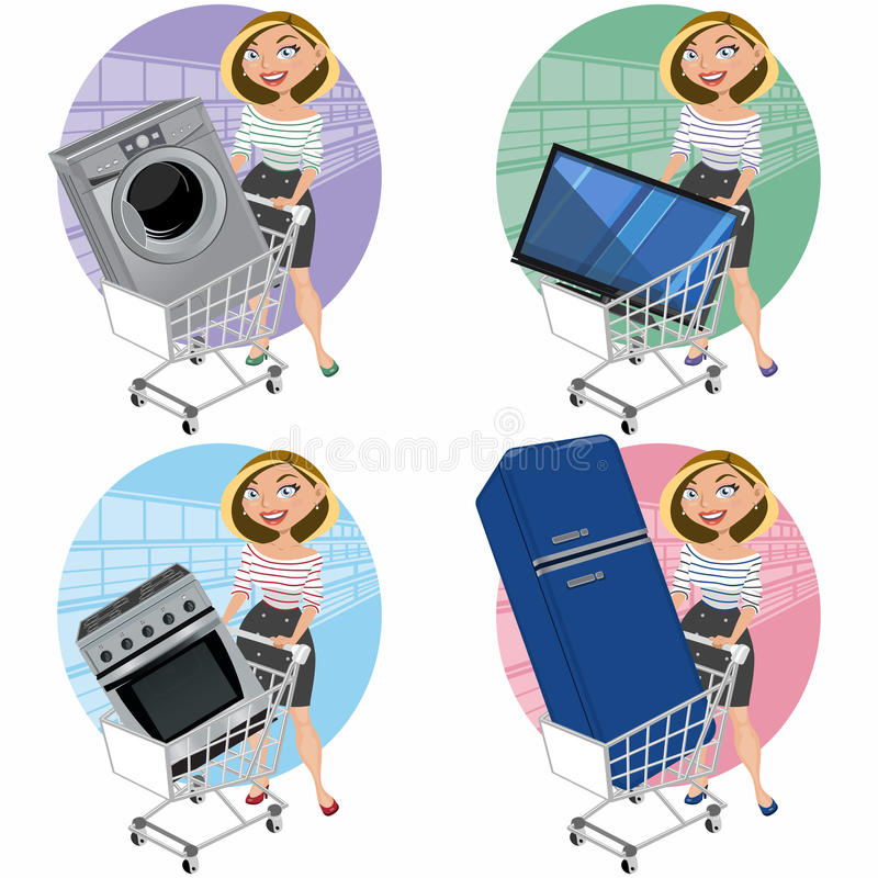 Free Women With Appliances In The Shopping Cart Stock Photos - 29583193