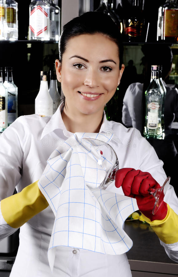Download Women Worker Cleaning Glass Stock Photo - Image: 19035414