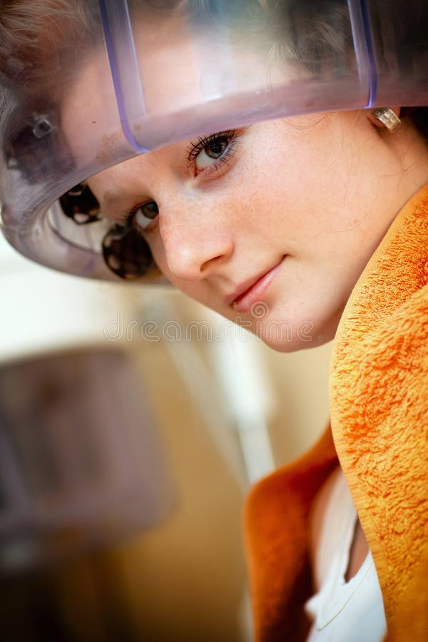 Women  Working With Hair Dryer Royalty Free Stock Photos