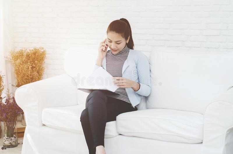 Women are working and have stress. stock photography