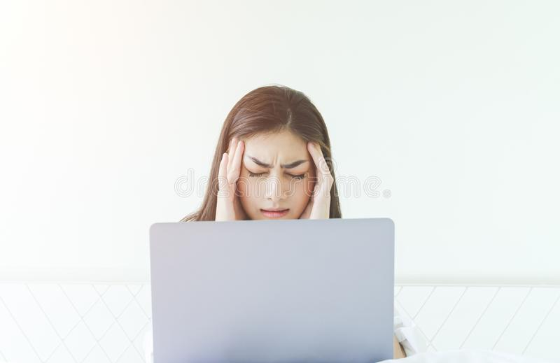 Women are working and have stress stock image