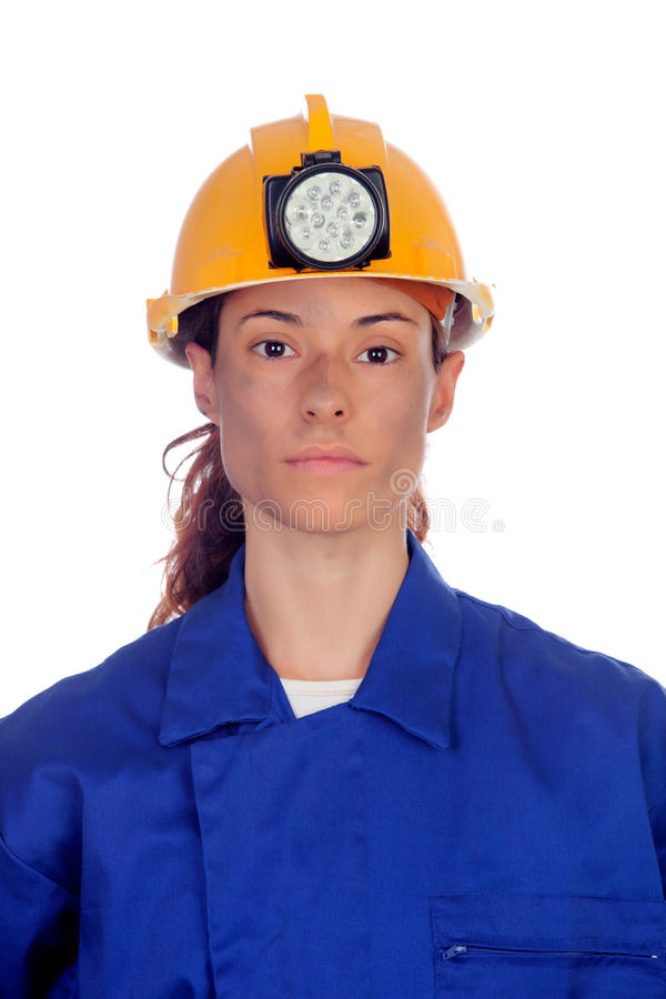 Women working in mining. Isolated on white background royalty free stock images