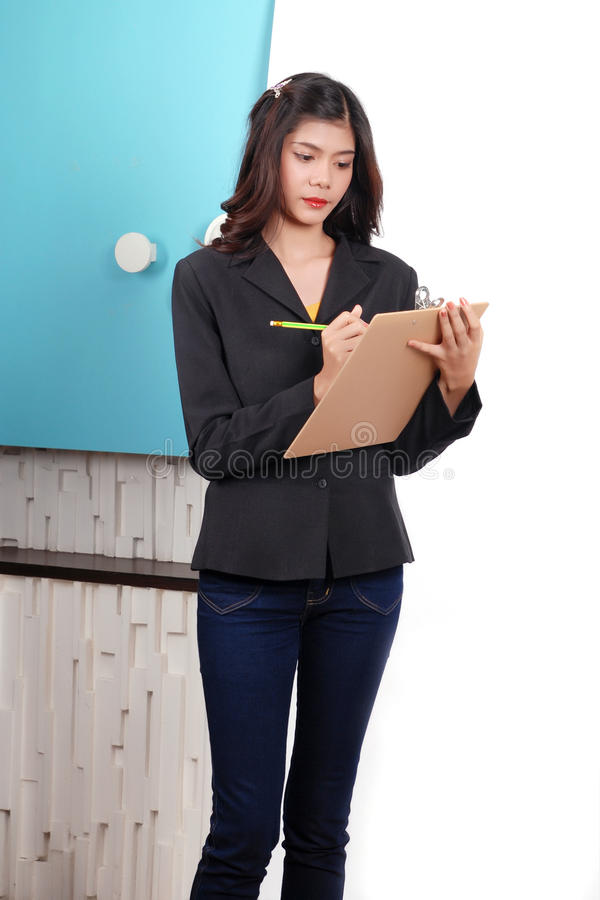 Women on working in office stock image