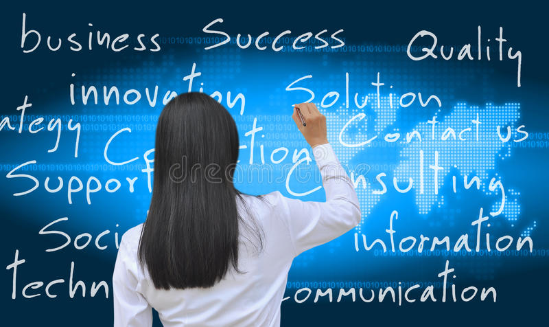 Women writing. A working woman hand writing royalty free stock photography