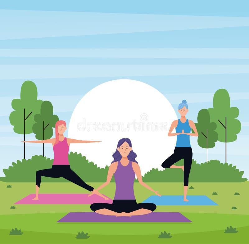 Women yoga in the park stock illustration