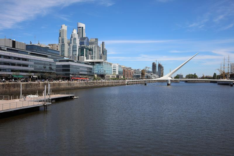 The Womens Bridge Puente de la mujerin Puerto Madero Neighborhood. Buenos Aires stock photos