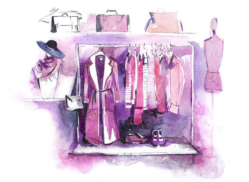 Womens clothing on rack, accessories Fashion outfit. Shopping. Womens clothing on rack, accessories Fashion outfit. Shopping stock illustration