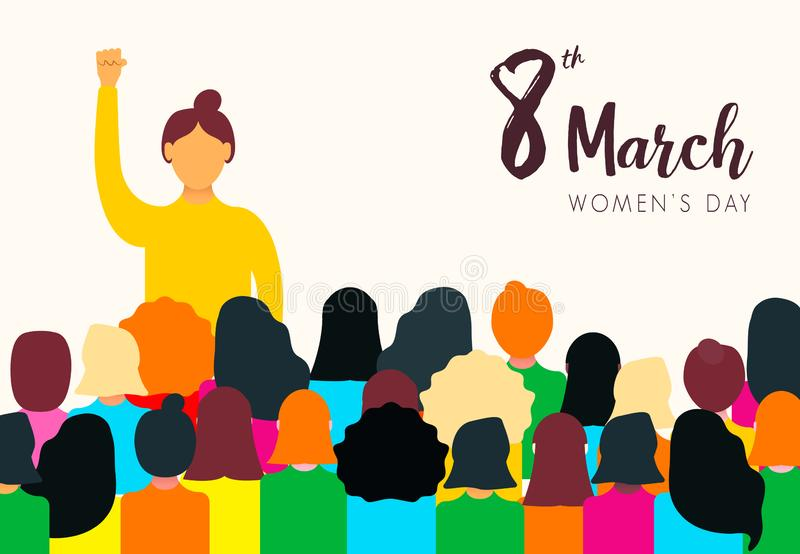 Womens Day card of diverse women group stock illustration