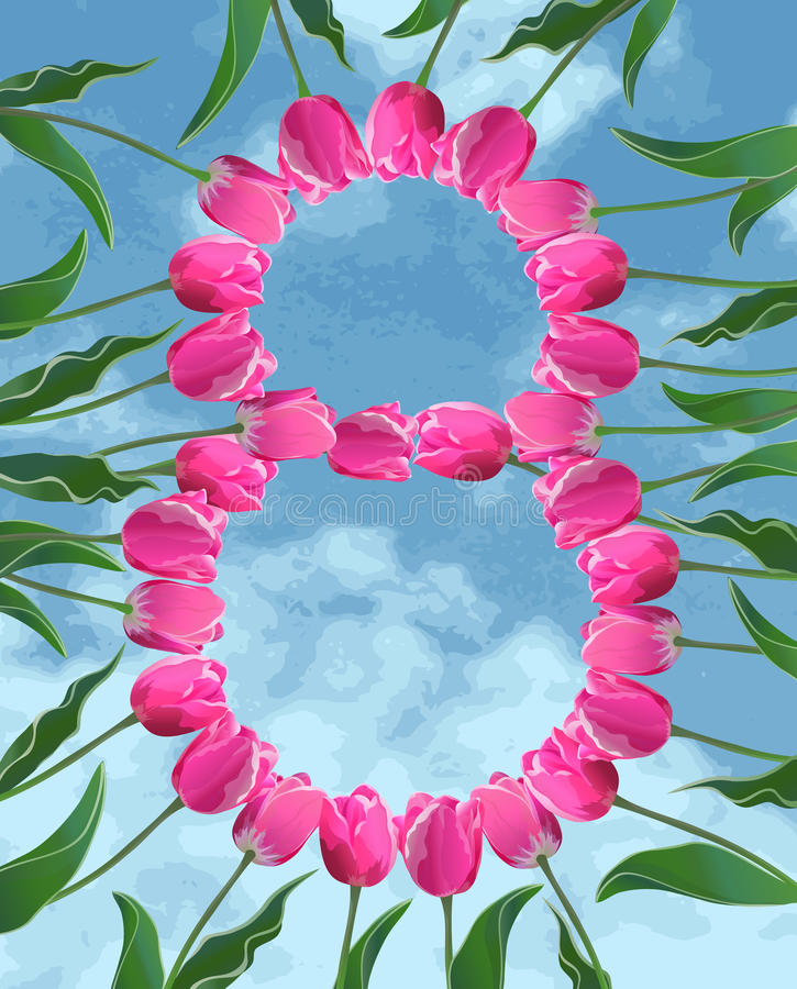 Womens Day card with tulips and sky royalty free stock photography