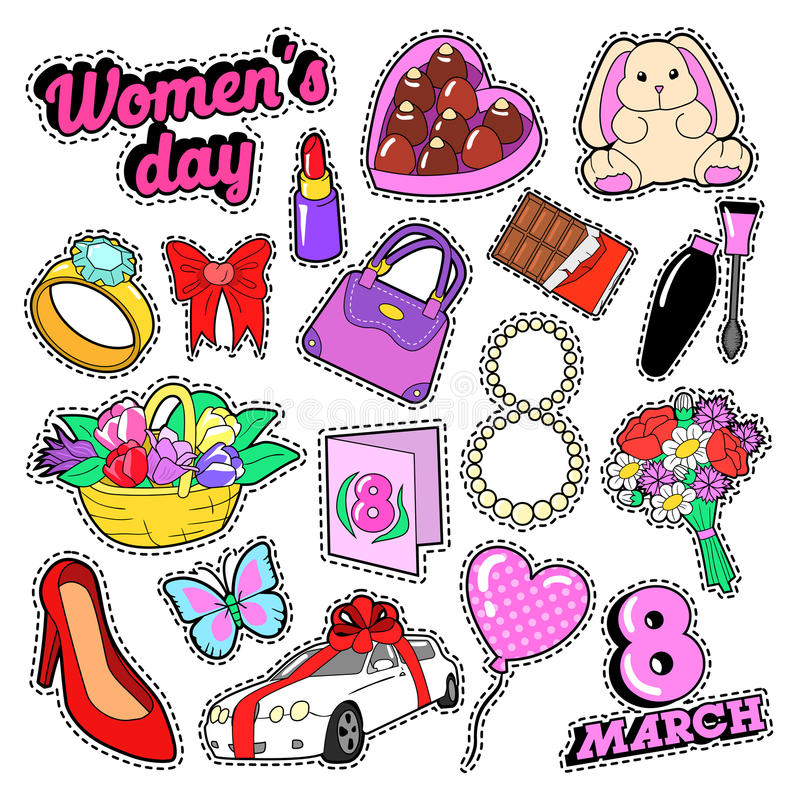 Download Womens Day 8 March Elements Set With Flowers And Cosmetics For Stickers, Badges, Patches Stock Vector - Illustration of label, female: 85987945