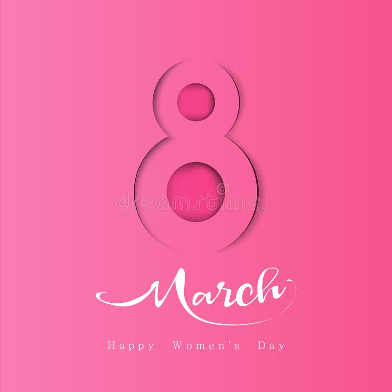 Womens day March 8, symbol in paper cut style with shadows. stock illustration