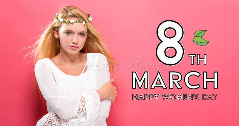 Womens Day message with beautiful woman with a garland royalty free illustration