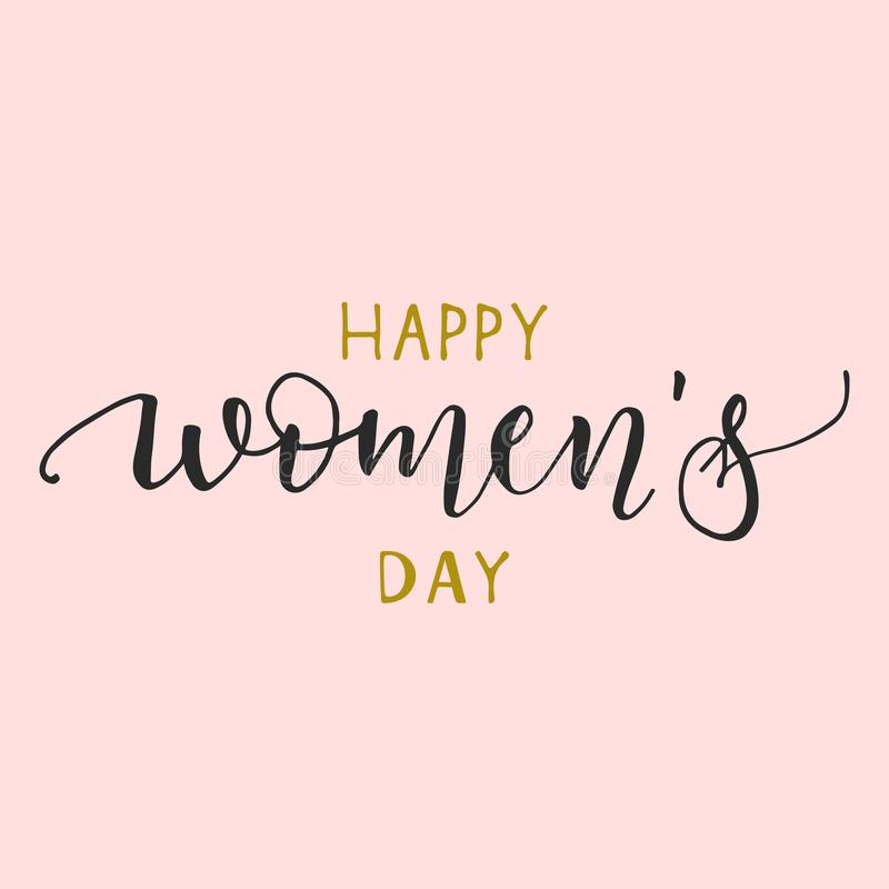 Womens Day text design. Womens Day greeting card on pink background. Template for a poster, cards, banner. Vector royalty free illustration