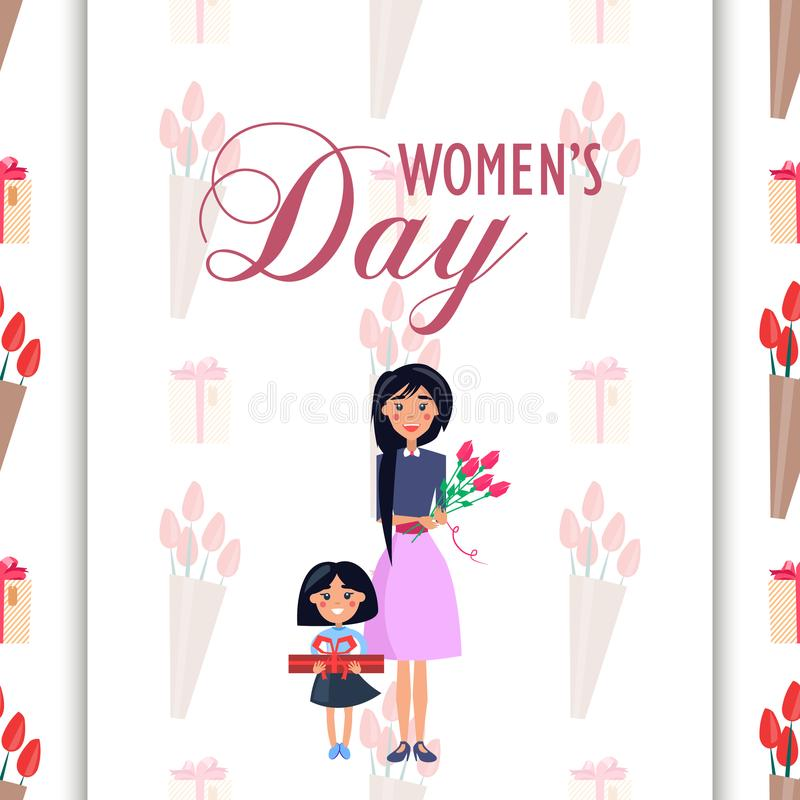 Mother and Daughter with Presents on Womens Day stock illustration