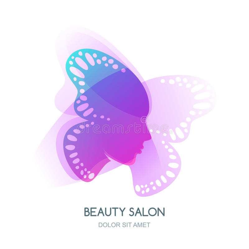 Free Womens Face In Butterfly Wings. Vector Logo Or Label Design. Stock Photo - 83329130