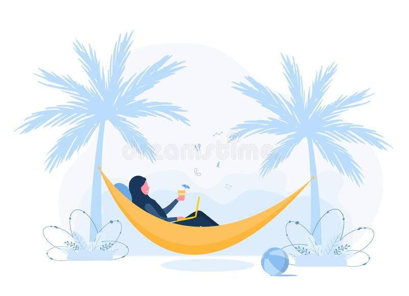 Womens freelance. Arabian girl in hijab with laptop lies in hammock under palm trees with cocktail. Concept illustration. For working outdoors, studying stock illustration