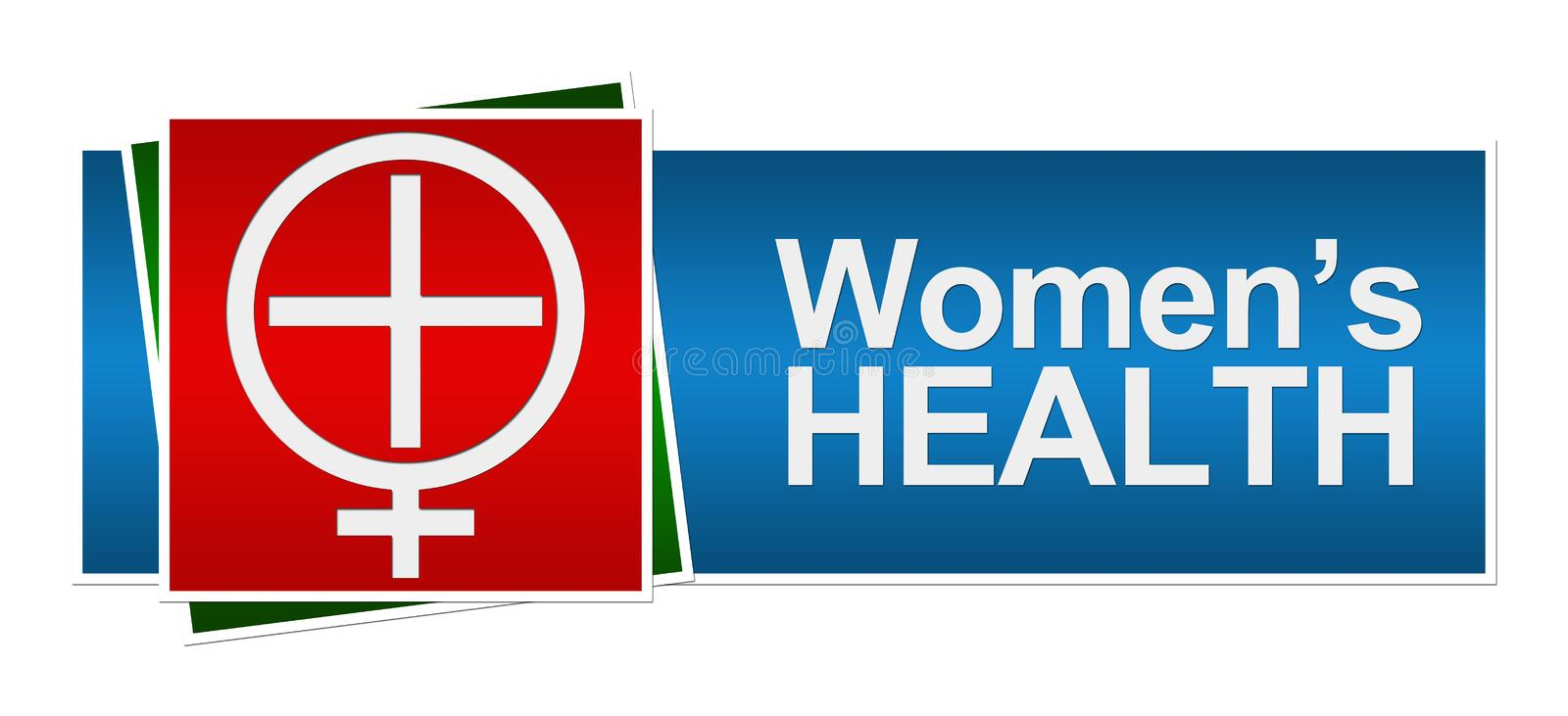 Womens Health Red Green Blue Banner royalty free illustration