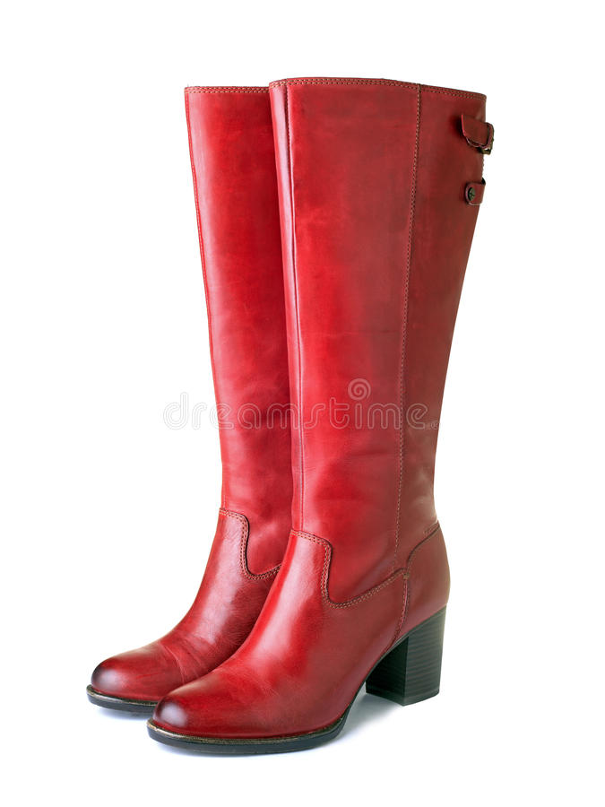 Womens red boots royalty free stock photo