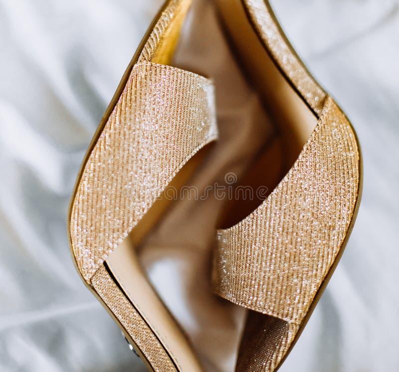 Womens shoes shoes feet wedding bride fashion. Womens shoes inside room shoes feet holiday wedding bride fashion clothes royalty free stock photos