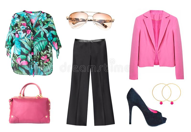Womens Summer fashion. Collage set of light woman clothes isolat royalty free stock image
