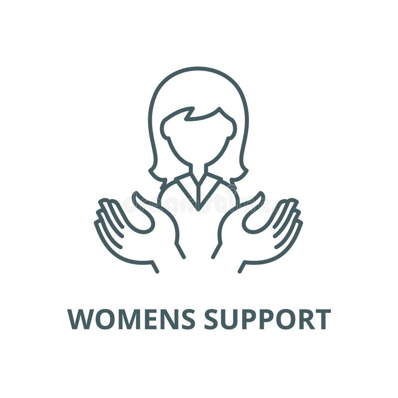 Womens support vector line icon, linear concept, outline sign, symbol royalty free illustration