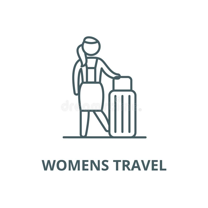 Womens travel vector line icon, linear concept, outline sign, symbol. Womens travel vector line icon, outline concept, linear sign royalty free illustration