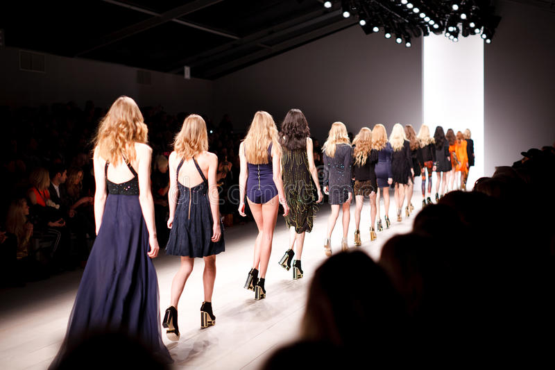Womens Walking On Fashion Stage With Audience Watching Free Public Domain Cc0 Image
