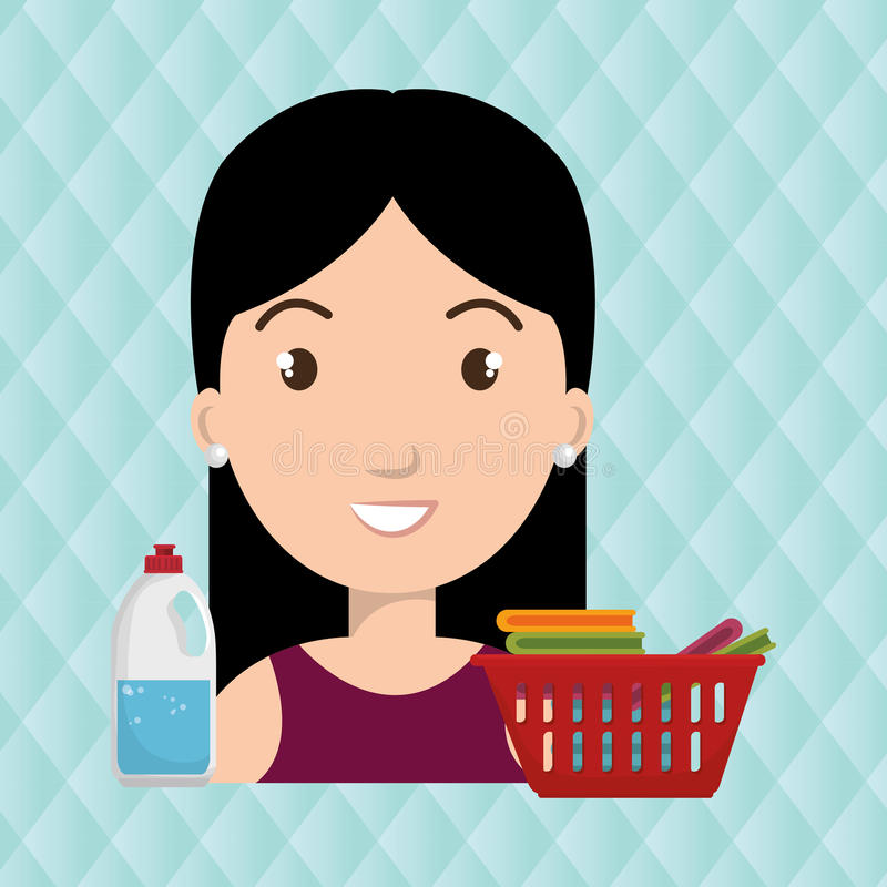 Womna cartoon basket clothes detergent. Womna cartoon basket red clothes detergent illustration eps 10 royalty free illustration