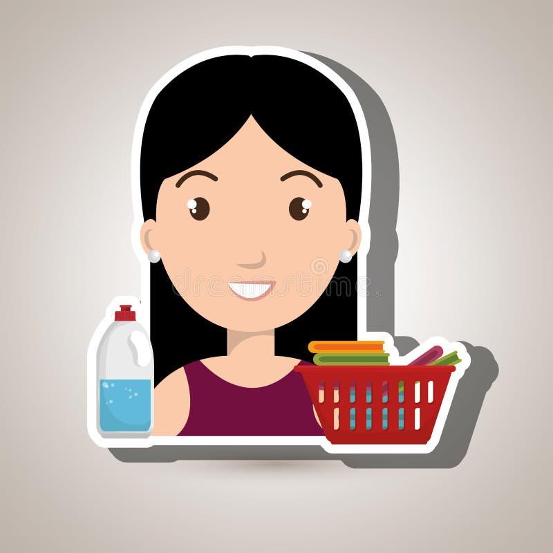 Womna cartoon basket clothes detergent. Womna cartoon basket red clothes detergent illustration eps 10 vector illustration