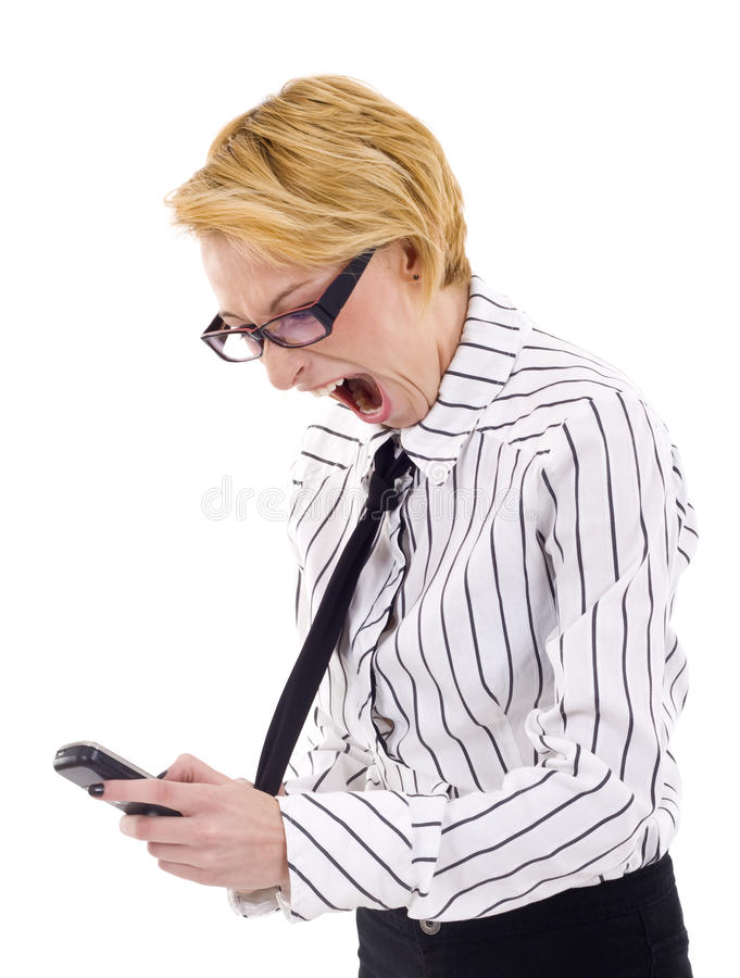 Womna, das am Telefon schreit lizenzfreies stockfoto