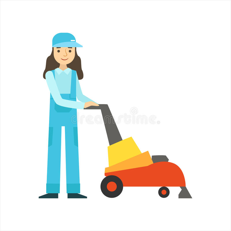 Womoan Using High-Tech Hoover, Cleaning Service Professional Cleaner In Uniform Cleaning In The Household. Person Working In Housekeeping At Work Doing Clean royalty free illustration
