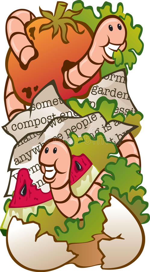 Womr Composting. Vector Illustration of a worm composting system (food waste, newspaper, live worms, soil royalty free illustration