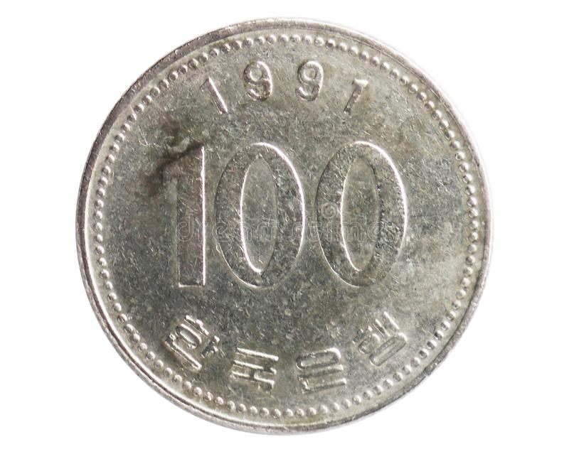 100 Won large bust coin, 1962~Today - Circulation - Won serie, Bank of South Korea. Obverse, issued on 1984. Isolated on white royalty free stock photography