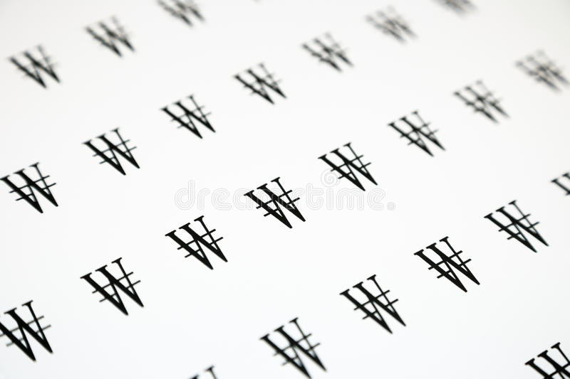 WON Sign. Korean currency, WON sign pattern, black and white background stock photo