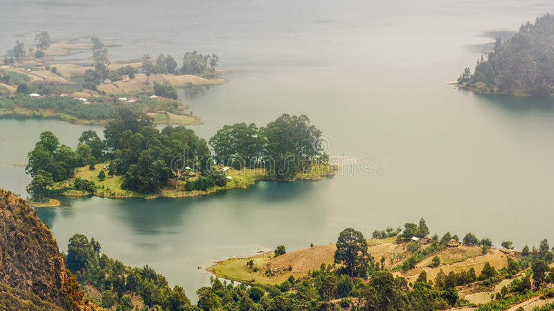 Wonchi Crater Lake. The small Island of the beautiful Wonchi Crater Lake found in the Oromia region of Ethiopia royalty free stock image