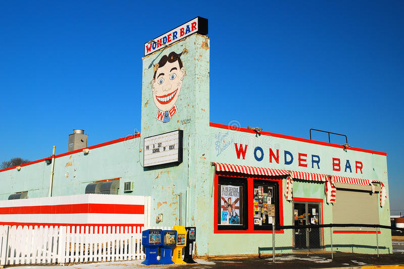 Wonder Bar, Asbury Park. The Wonder Bar, featuring Tillie, is a landmark in Asbury Park royalty free stock photos