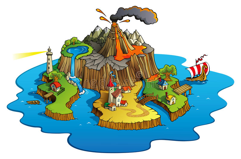 Wonder island vector illustration