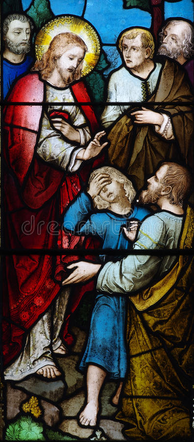 Wonder of Jesus stained glass. A photo of a wonder of Jesus stained glass stock photography