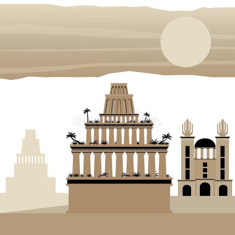 7 Wonder van de wereld Oude Babylon stock illustratie