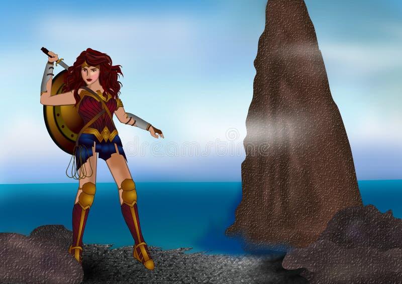 Wonder vrouw vector illustratie
