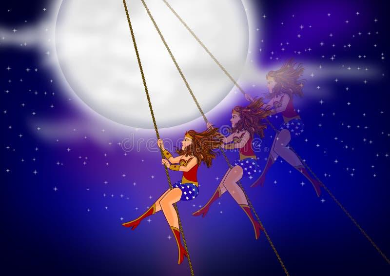Wonder vrouw in het hoogtepunt van de nachthemel van sterren stock illustratie