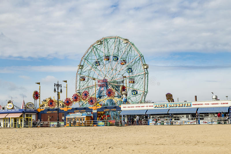 Wonder Wheel is a hundred and fifty foot eccentric wheel royalty free stock photography