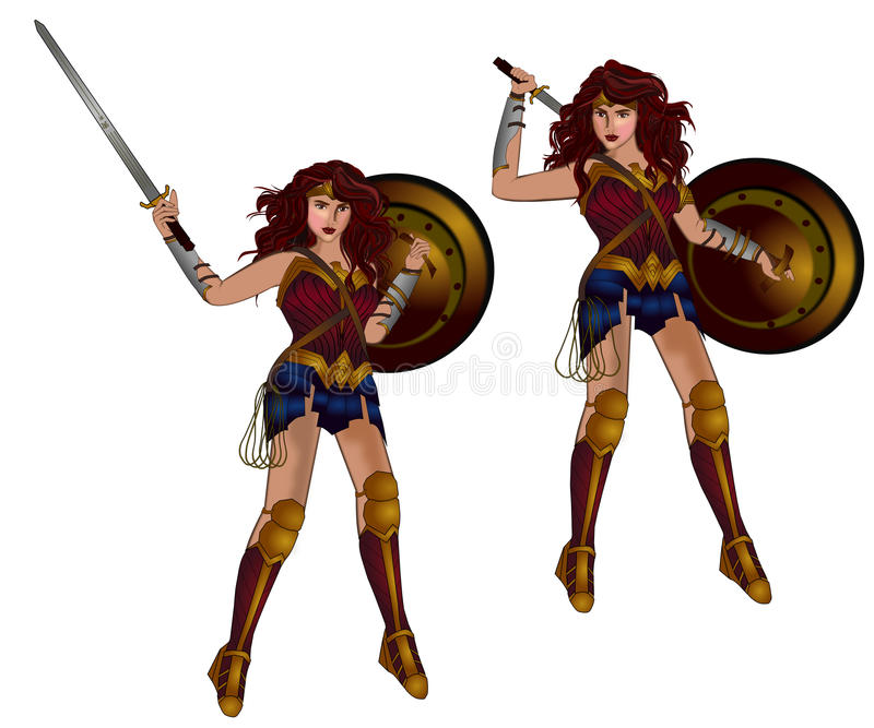 Wonder woman. Actress Gal Gadot in Wonder woman character movie isolated