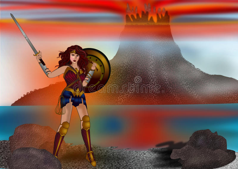 Wonder woman and the mountain background. Actress Gal Gadot in Wonder woman character movie