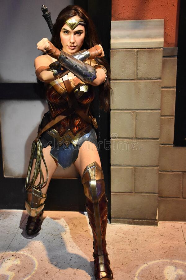 Wonder Woman wax statue at Madame Tussauds Wax Museum at ICON Park in Orlando, Florida stock image