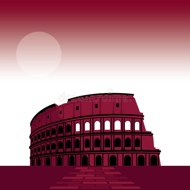7 Wonder of the world Roman Colosseum stock illustration